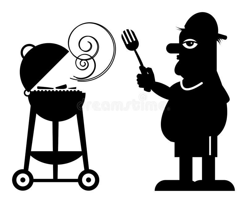 Hombre y parrilla libre illustration