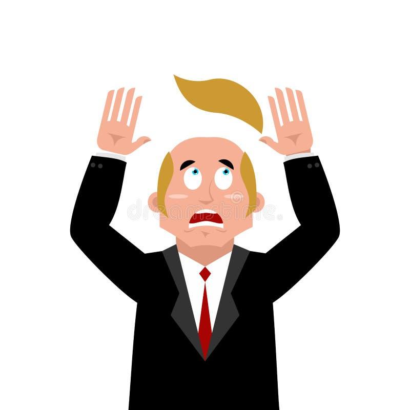 Hombre y peluca El hombre de negocios asustado perdió su pelo pelo artificial stock de ilustración
