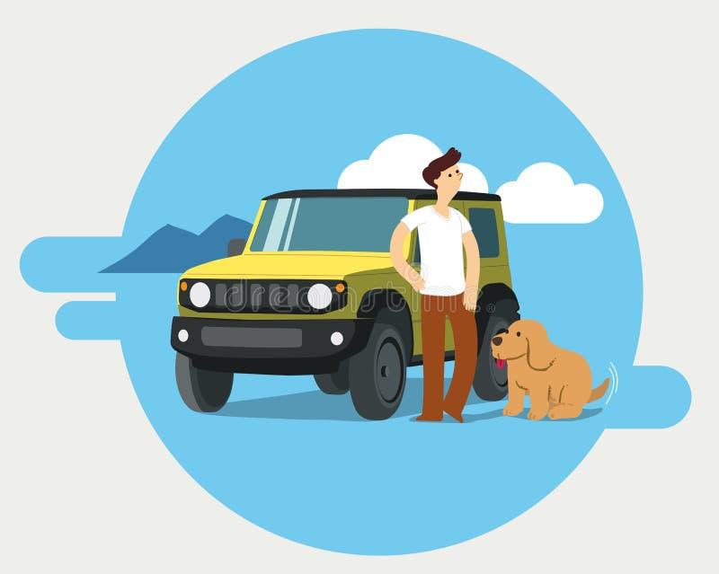Hombre y perro en viaje por carretera ilustración del vector