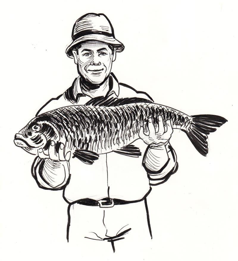 Hombre y pescados libre illustration