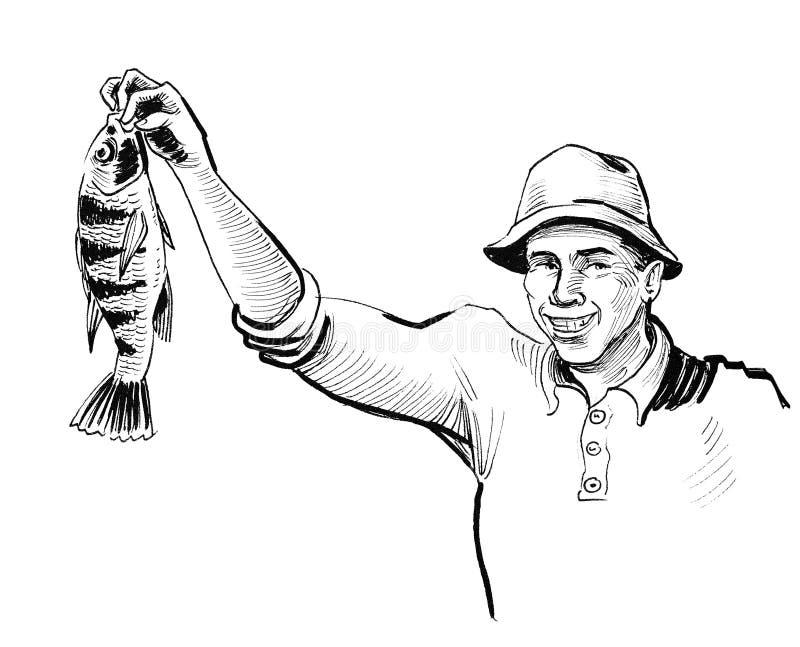 Hombre y pescados stock de ilustración