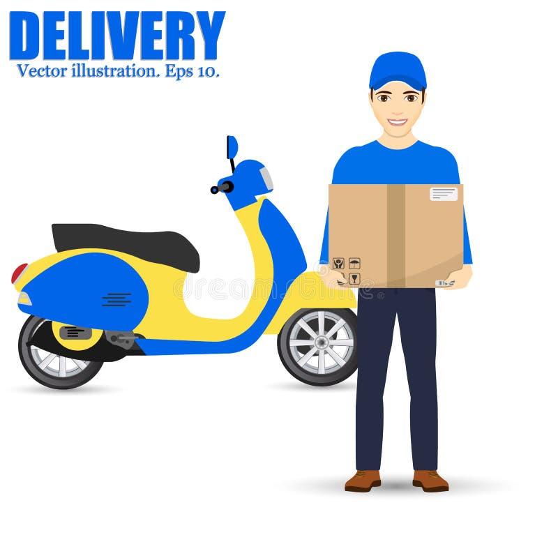Hombre y pista de entrega Mantenga la entrega rápida Vespa de la salida Aislado en fondo Ilustración del vector stock de ilustración
