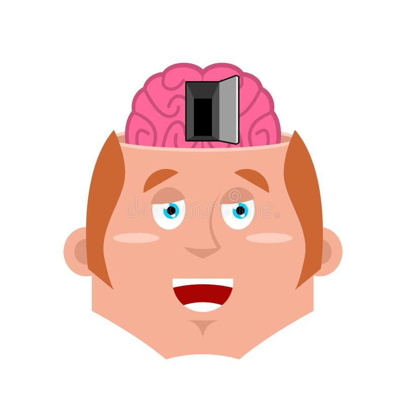 Hombre y puerta abierta al cerebro Ejemplo de la psicología Concepto del NLP libre illustration