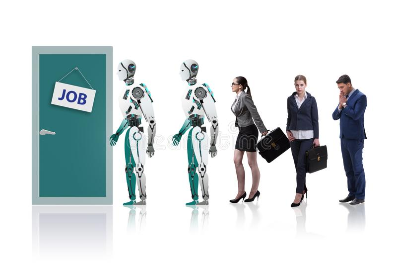 Hombre y robot de la mujer que compiten para los trabajos foto de archivo libre de regalías