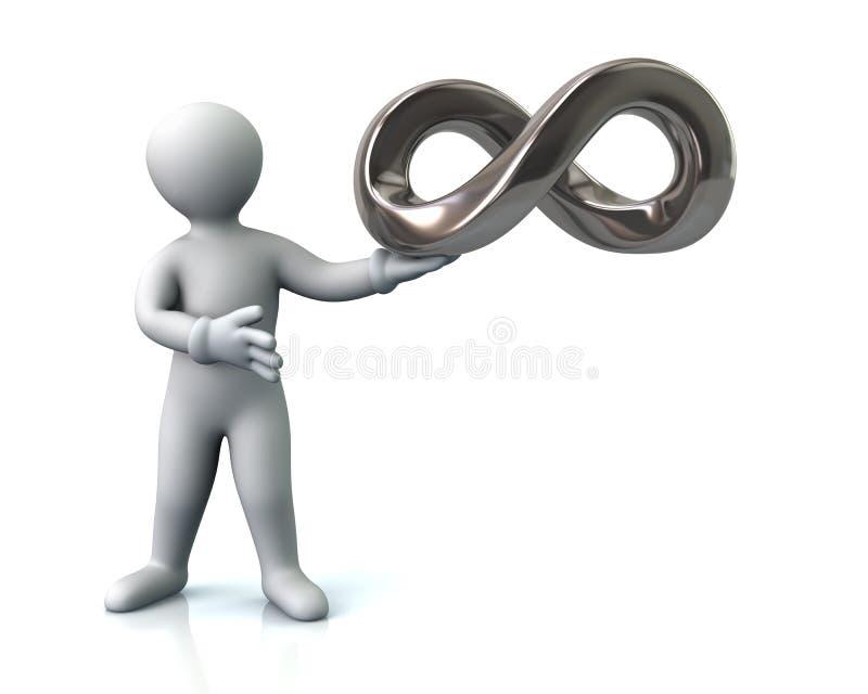Hombre y símbolo del infinito ilustración del vector