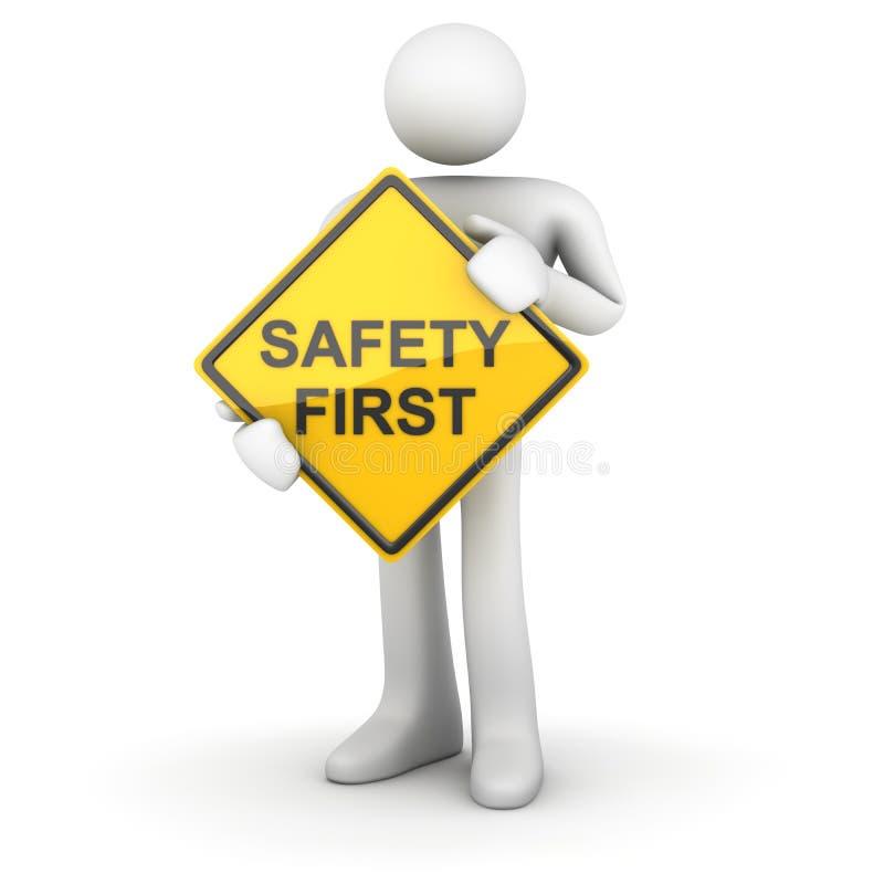 Hombre y señal de tráfico - seguridad primero ilustración del vector