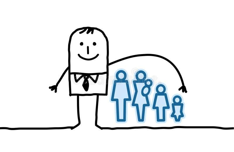 Hombre y seguro de vida ilustración del vector