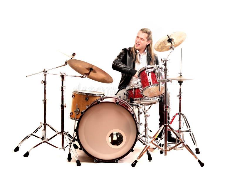 Hombre y tambores fotos de archivo