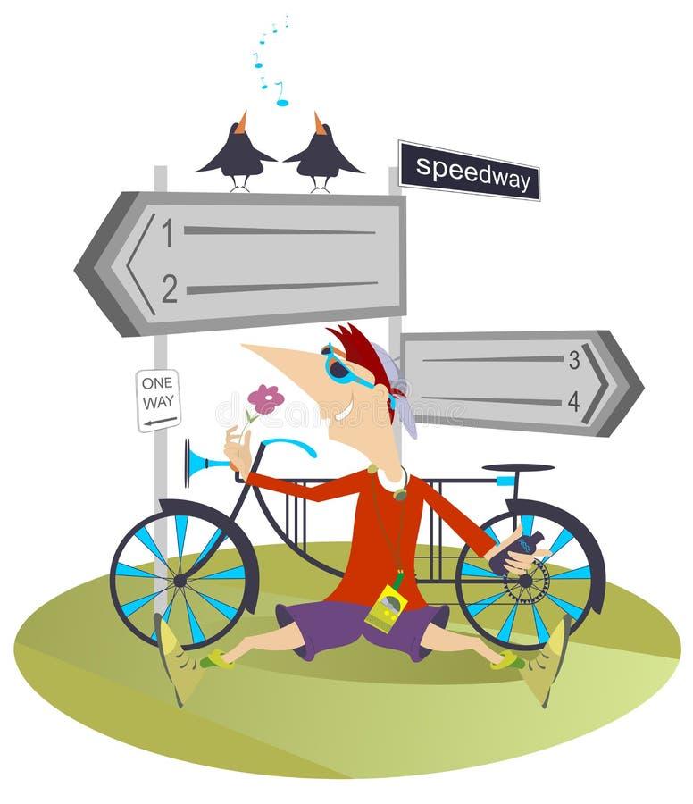 Hombre y una bici ilustración del vector