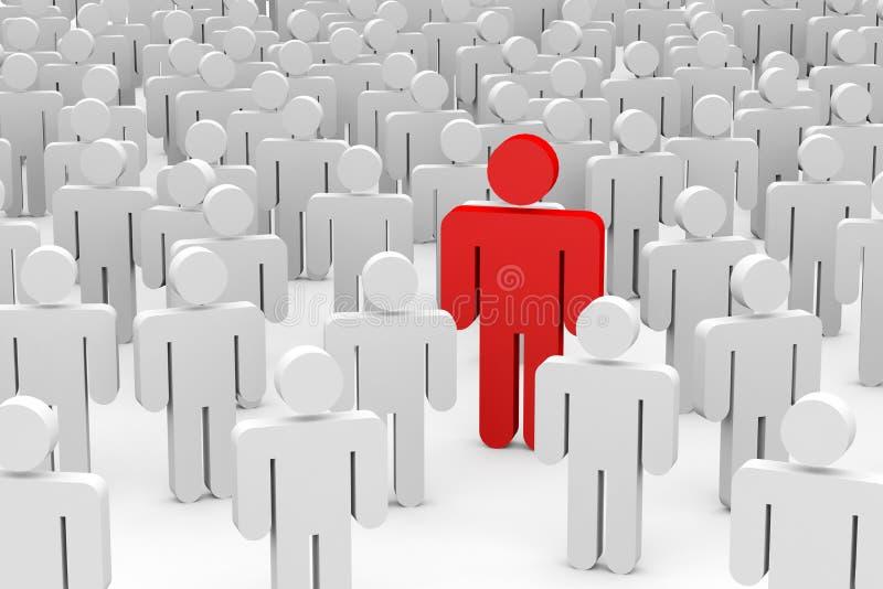 hombres 3D en muchedumbre. Concepto de individualidad. stock de ilustración