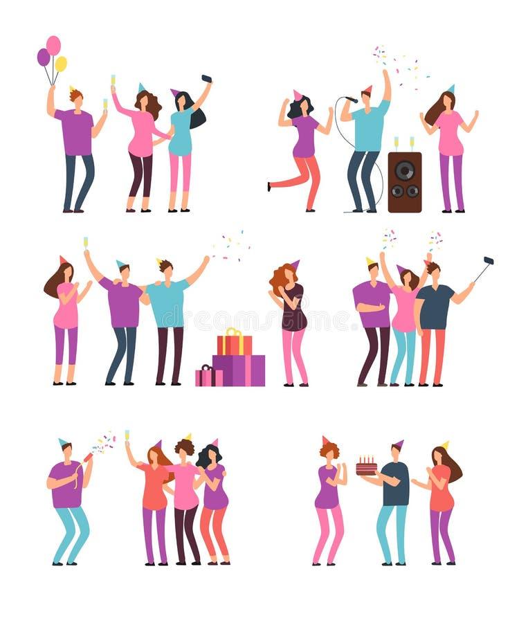 Hombres amistosos de la gente, mujeres que bailan, cantando y divirtiéndose en el partido Amigos que celebran cumpleaños Historie ilustración del vector