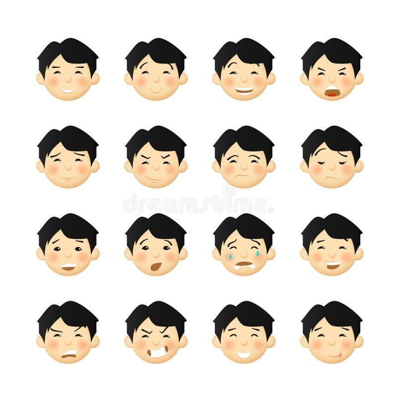 Hombres asiáticos con las mejillas atractivas Avatares y emoticons del vector fijados stock de ilustración