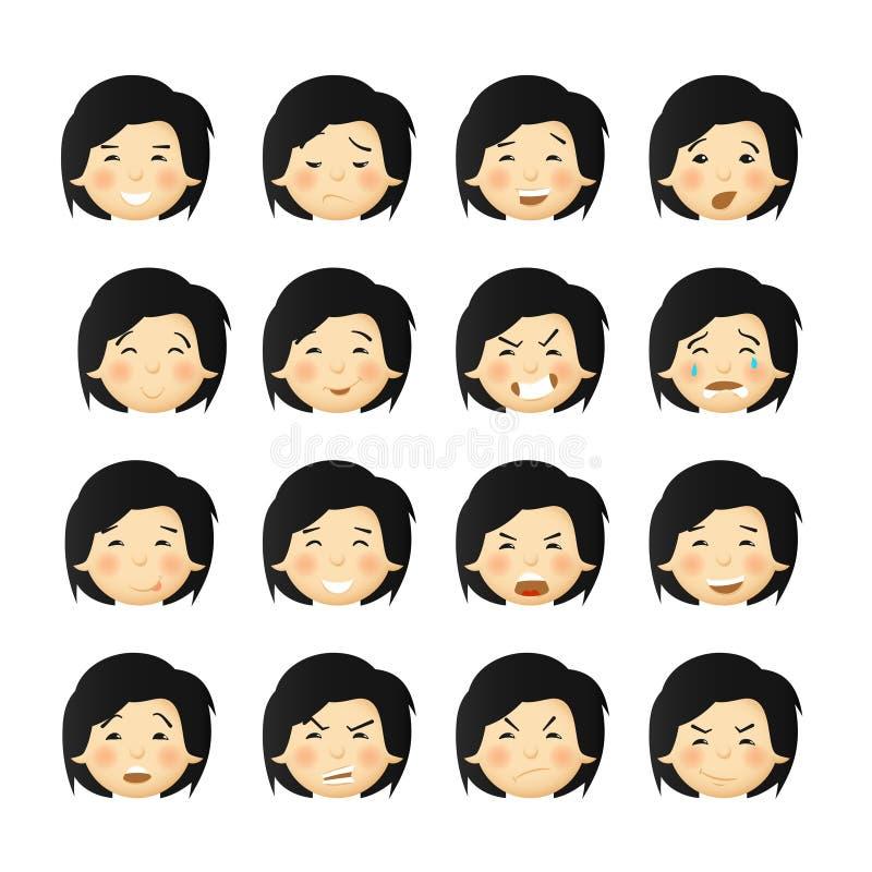 Hombres asiáticos con las mejillas atractivas Avatares y emoticons del vector fijados ilustración del vector