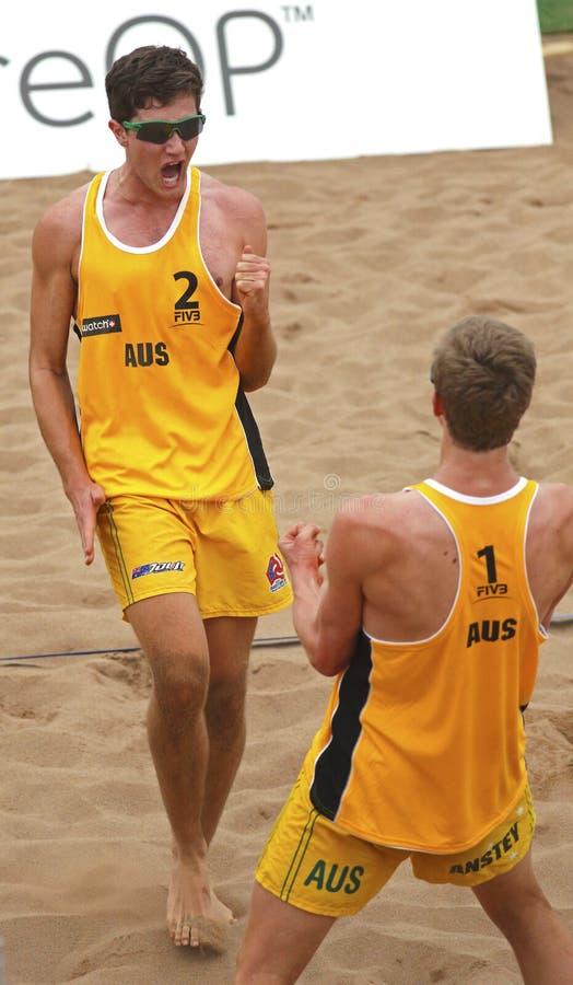 Hombres Australia del voleibol de la playa fotos de archivo libres de regalías