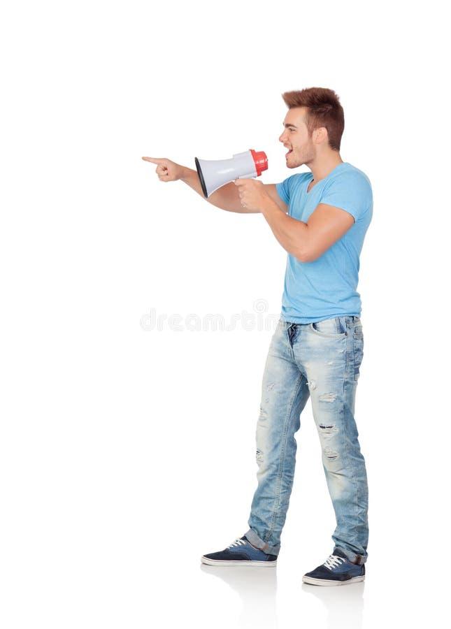 Hombres casuales con un megáfono que da órdenes imagenes de archivo