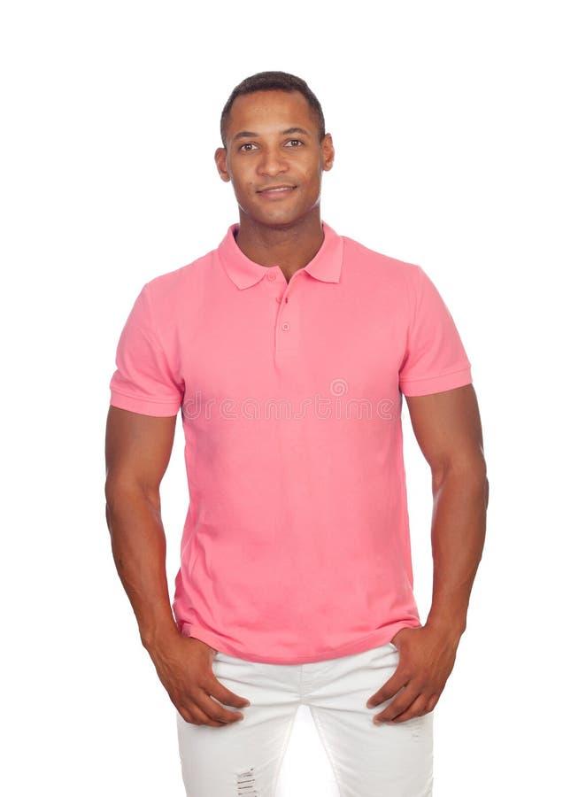 Hombres casuales latinos en rosa imagen de archivo