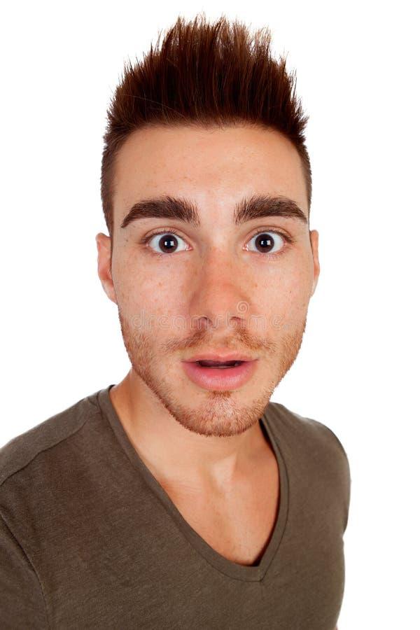 Hombres casuales sorprendidos con el pelo de punta foto de archivo libre de regalías