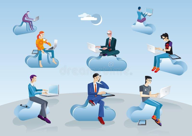 Hombres computacionales de la nube que se sientan en nubes ilustración del vector