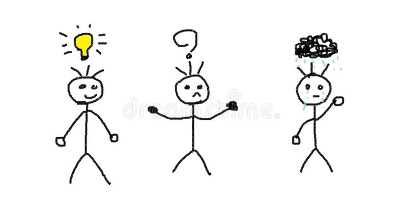 Hombres con diversas emociones libre illustration