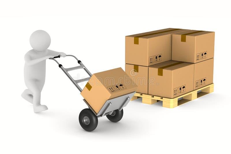 Hombres con el camión de la caja del cargo a mano Ejemplo aislado 3d ilustración del vector