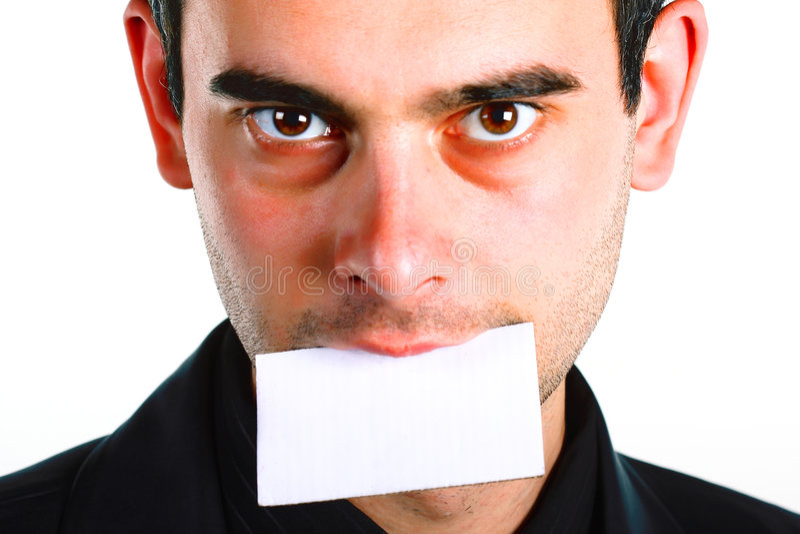 Hombres con el mensaje en boca. imágenes de archivo libres de regalías