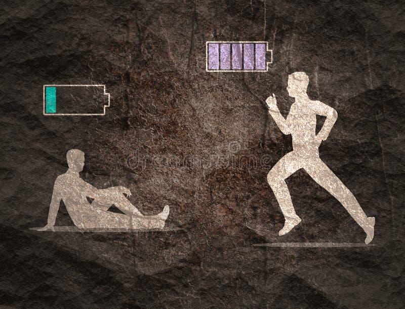 Hombres con la bater?a baja y con la alta bater?a llana llena de la energ?a imagen de archivo