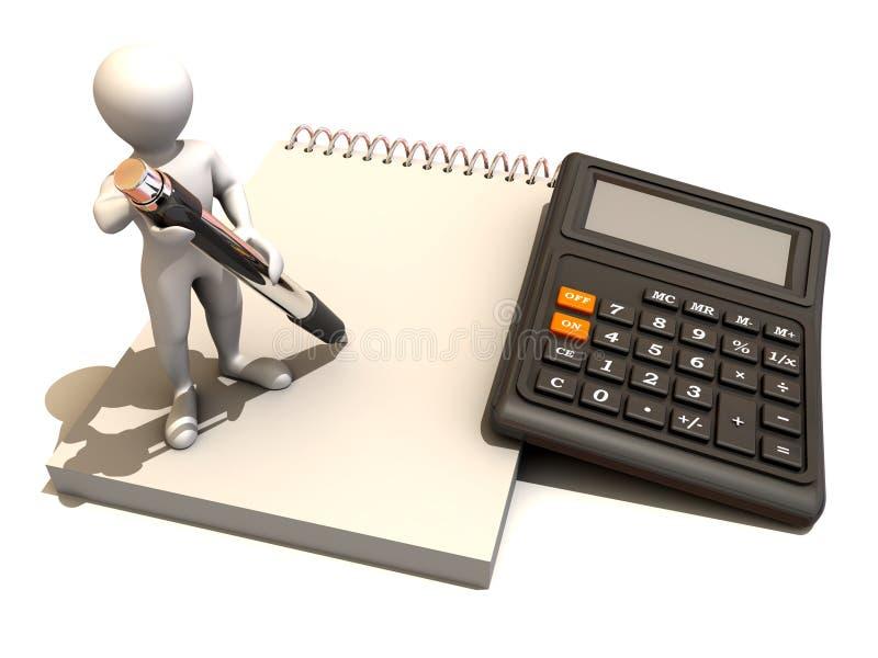 Hombres con la calculadora y el cuaderno ilustración del vector