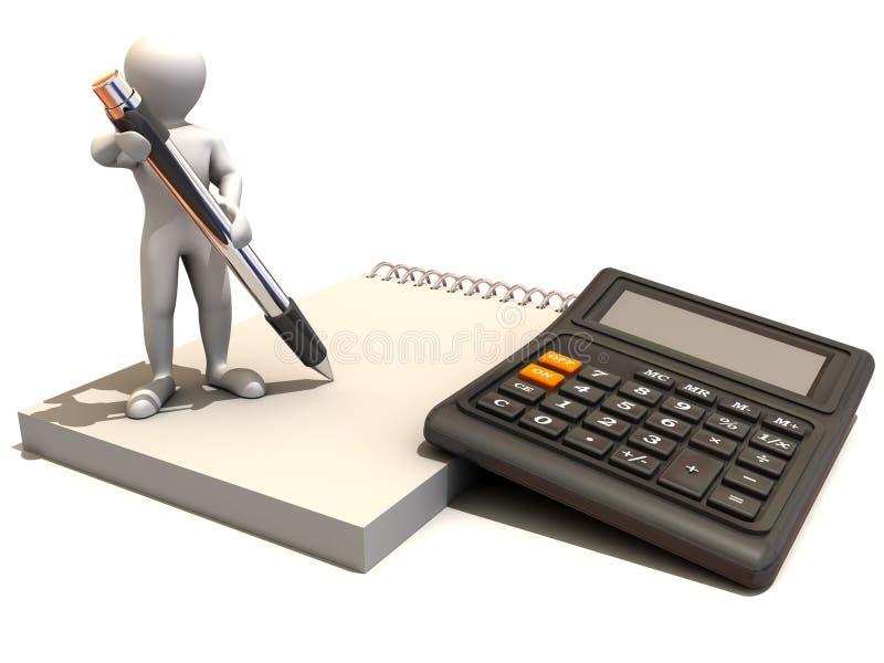 Hombres con la calculadora y el cuaderno stock de ilustración