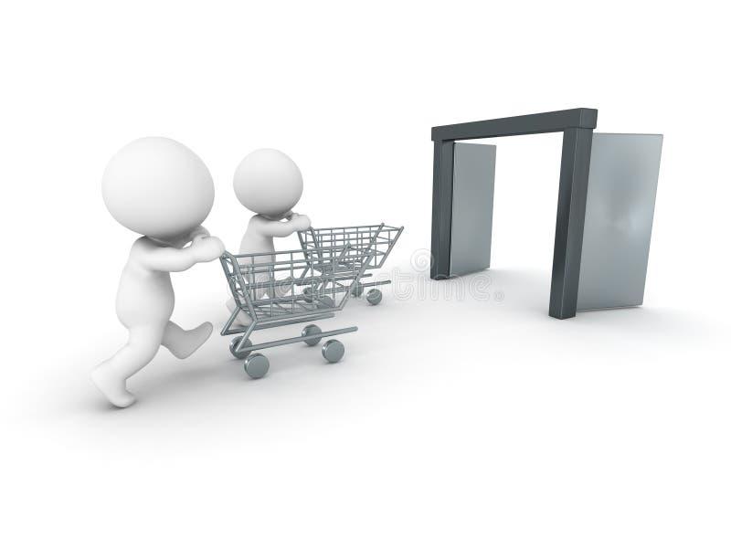 hombres 3D que acometen a hacer compras ilustración del vector