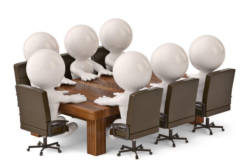 hombres 3D que se sientan en una tabla y que tienen reunión de negocios illustr 3d ilustración del vector