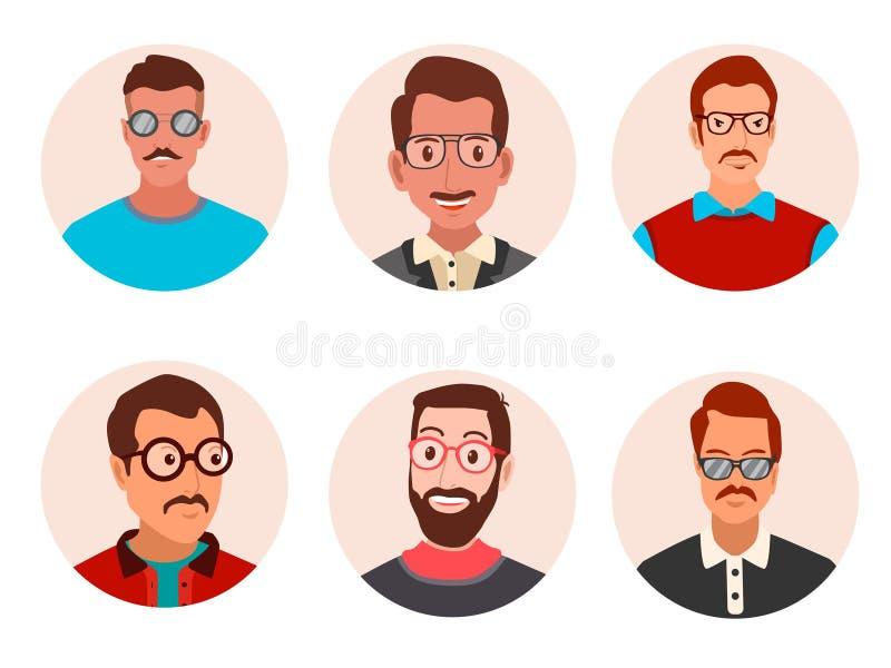 Hombres de Avatar con el ejemplo del vector de los vidrios stock de ilustración