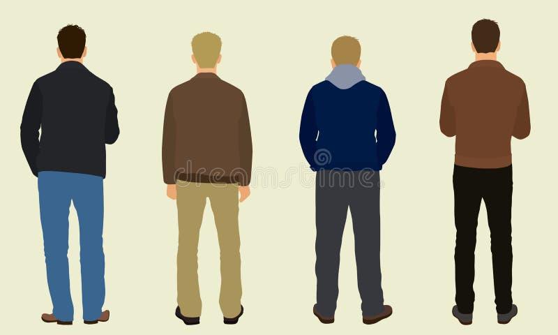 Hombres de detrás stock de ilustración