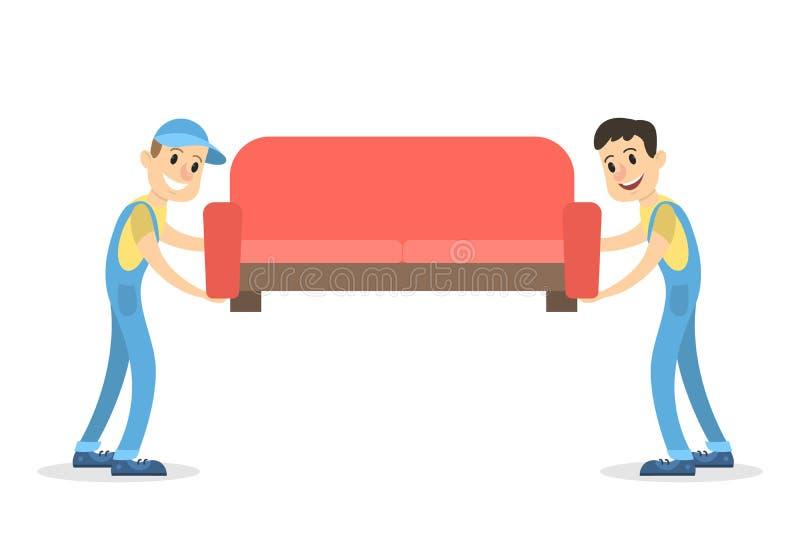 Hombres de entrega con el sofá libre illustration