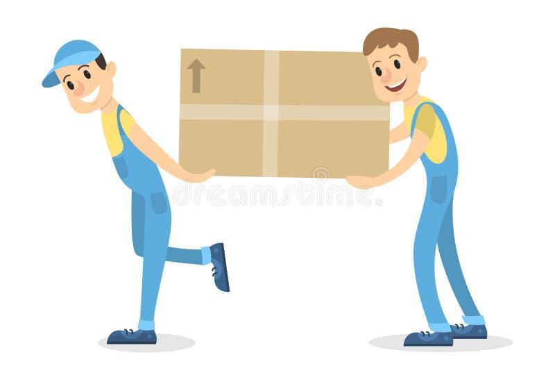 Hombres de entrega con la caja libre illustration