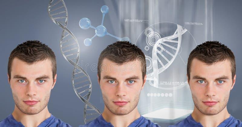 Hombres de la copia con la DNA genética fotos de archivo libres de regalías