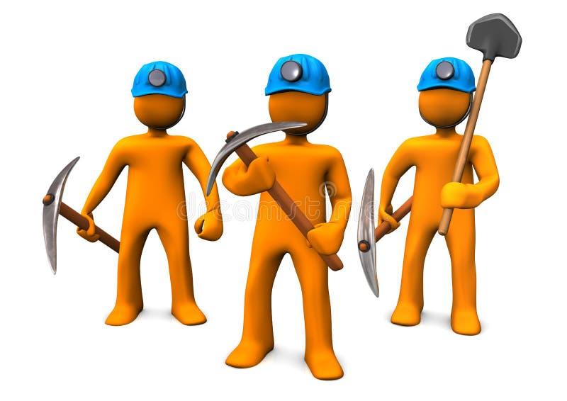 Hombres de la explotación minera stock de ilustración