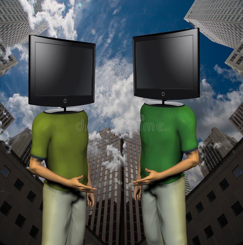 Hombres de la TV stock de ilustración