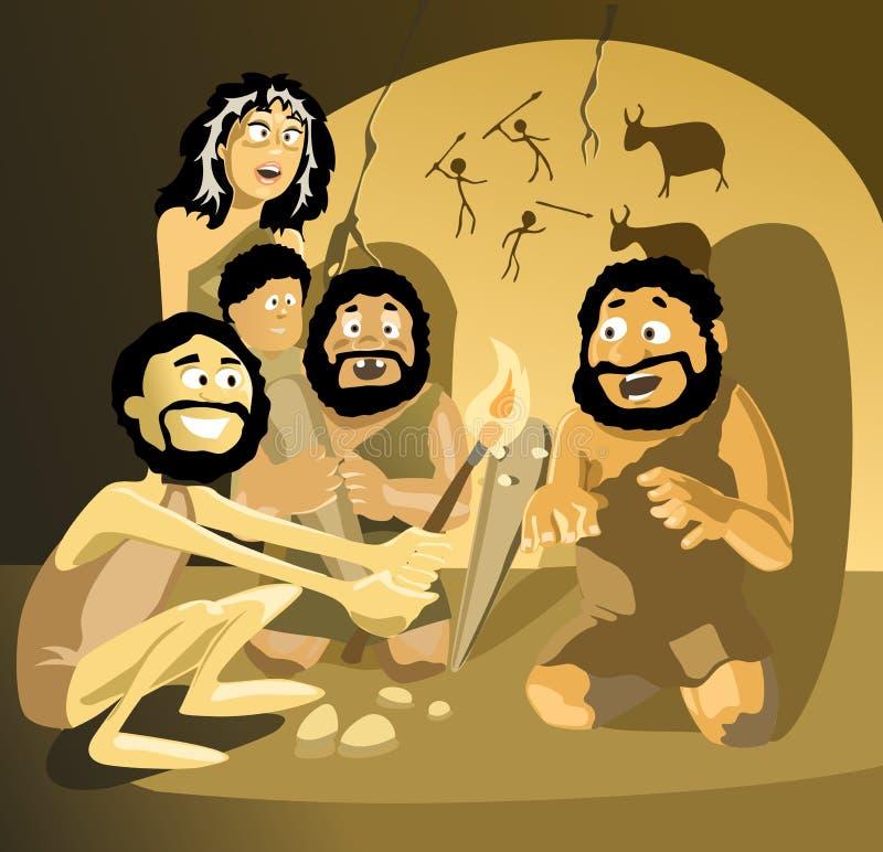 Hombres de las cavernas ilustración del vector