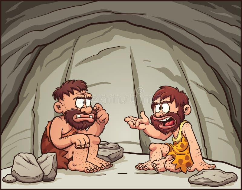 Hombres de las cavernas de la historieta libre illustration