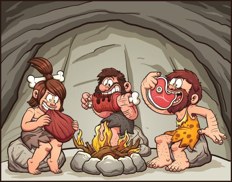 Hombres de las cavernas de la historieta ilustración del vector