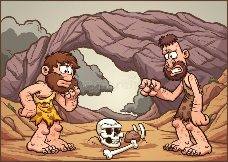 Hombres de las cavernas de la historieta stock de ilustración