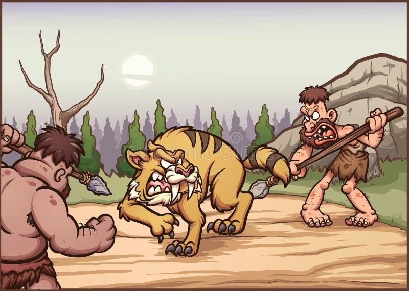Hombres de las cavernas de la historieta que cazan un diente del sable ilustración del vector