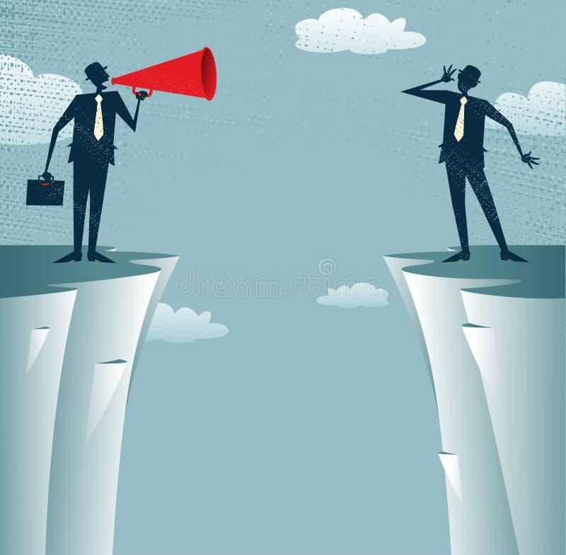 Hombres de negocios abstractos que comunican de distancia. ilustración del vector