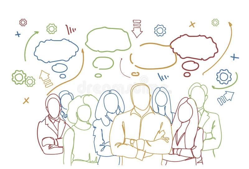 Hombres de negocios acertados del grupo sobre el grupo abstracto del trabajo en equipo del fondo del garabato de empresarios Team ilustración del vector