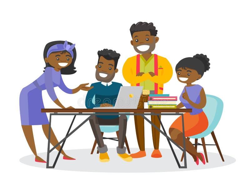 Hombres de negocios afroamericanos que trabajan junto ilustración del vector