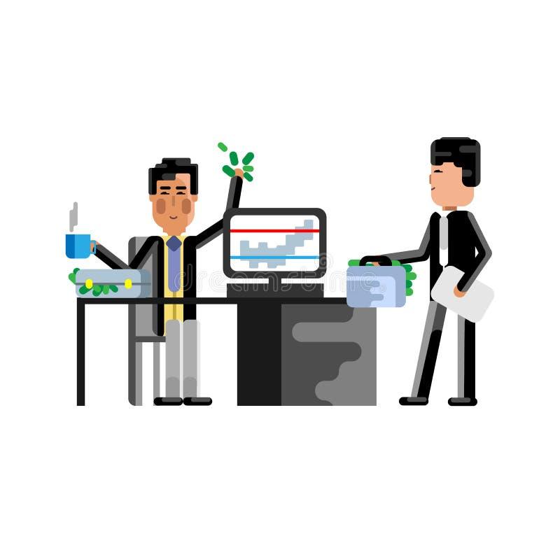 Hombres de negocios asiáticos de la reunión de negocios en oficina stock de ilustración
