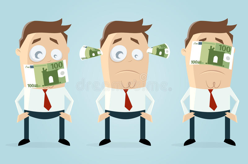 Hombres de negocios ciegos mudos sordos con los billetes de banco euro ilustración del vector