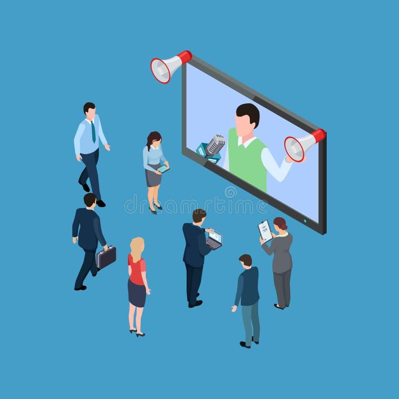 Hombres de negocios con el ejemplo isométrico de los megáfonos y del vector del programa de televisión stock de ilustración