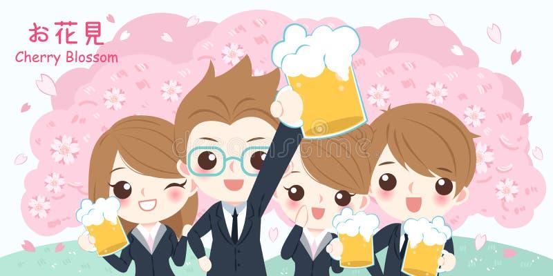 Hombres de negocios con la flor de cerezo stock de ilustración