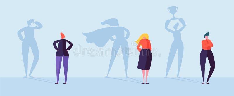 Hombres de negocios con la sombra del ganador Varón y caracteres femeninos con las siluetas de la dirección, motivación de logro stock de ilustración